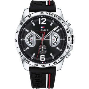 Tommy Hilfiger Men's Decker Black Dial Silicone Strap Watch 1791473