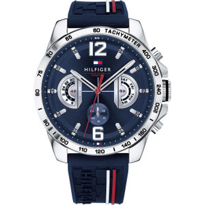 Tommy Hilfiger Men's Decker Navy Dial Silicone Strap Watch 1791476