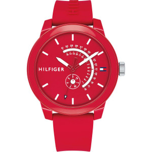 Tommy Hilfiger Men's Denim Red Dial Silicone Strap Watch 1791480