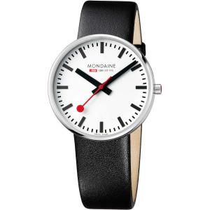 Mondaine Men's Giant BackLight White Dial Black Leather Strap Swiss Railways Watch MSX.4211B.LB