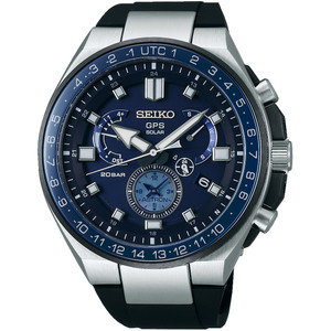 Seiko Astron GPS Solar Sapphire Dual Time Blue Dial Date Watch SSE167J1