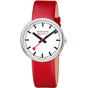 Mondaine Mini Giant Backlight Red Leather Strap Unisex Watch MSX.3511B.LC