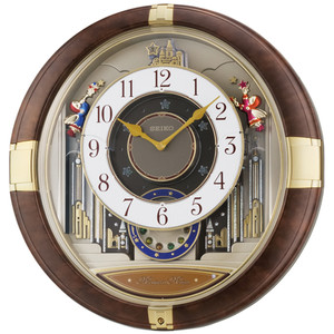 Seiko Melodies In Motion With LED Brown Marble Effect Clock QXM333B