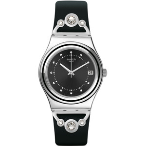 Swatch Irony Medium Queen's Fashion Black Dial Rubber Strap Watch YLS462