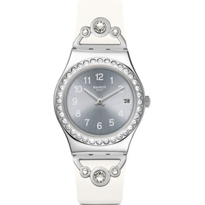 Swatch Irony Medium Pretty In White Silver Dial Rubber Strap Watch YLS463