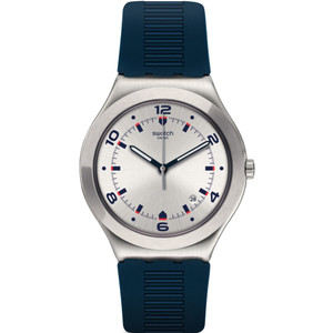 Swatch Irony Big Classic Brut De Bleu Silver Dial Rubber Strap Watch YWS431