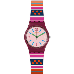 Swatch Original Lady Laraka Rose Dial Silicone Strap Watch LP152