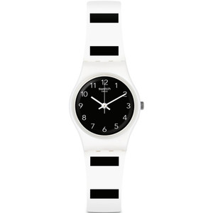Swatch Original Lady Zebrette Black Dial Silicone Strap Watch LW161