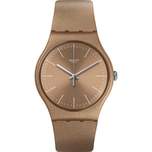 Swatch New Gent Powderbayang Beige Dial Silicone Strap Watch SUOM111