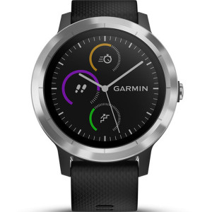 Garmin Vívoactive(3) HR Stainless Steel Black Strap 43MM Hybrid Smartwatch 010-01769-00