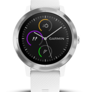 Garmin Vívoactive(3) HR Stainless Steel White Strap 43MM Hybrid Smartwatch 010-01769-20