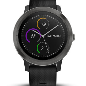 Garmin Vívoactive(3) HR Stainless Steel Slate Black Strap 43MM Hybrid Smartwatch 010-01769-10