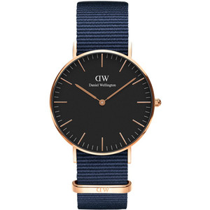 Daniel Wellington Unisex Classic Bayswater Black Dial Midnight Blue Strap Watch DW00100281
