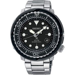 Seiko Prospex Solar Diver's Men's Date Black Dial Stainless-Steel Bracelet Watch SNE497P1