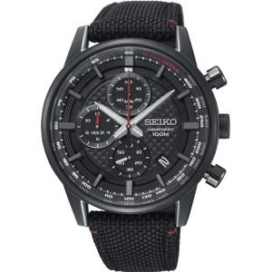 Seiko Urban Sport Men's Chronograph Date Black Dial Nylon Strap Watch SSB315P1