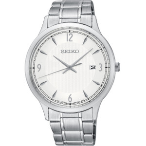 Seiko Classic Men's White Dial Stainless-Steel Bracelet Watch SGEH79P1