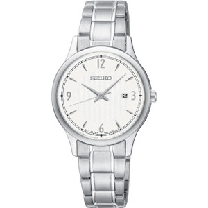 Seiko Classic Women's White Dial Stainless-Steel Bracelet Watch SXDG93P1