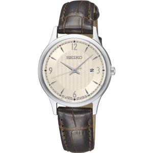 Seiko Classic Women's Cream Dial Brown Leather Strap Watch SXDG95P1