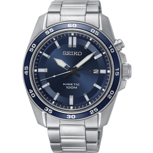 Seiko Kinetic Men's Blue Dial Stainless-Steel Bracelet Watch SKA783P1