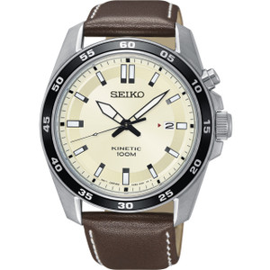 Seiko Kinetic Men's Cream Dial Brown Leather Strap Watch SKA787P1