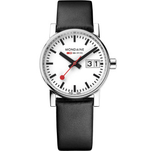 Mondaine Evo2 Women's White Dial Black Leather Strap Swiss Railways Watch MSE.30210.LB