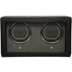 Wolf Cub Double Watch Winder With Glass Cover Black Saffiano Finish 461203
