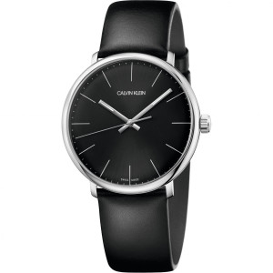 Calvin Klein Men's High Noon Black Dial Leather Strap Watch K8M211C1