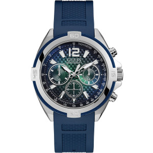 Guess Men's Surge Quartz Chronograph Blue Silicone Strap Watch W1168G1