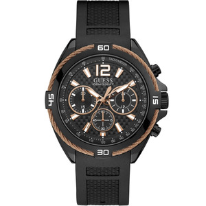 Guess Men's Surge Quartz Chronograph Black Silicone Strap Watch W1168G3