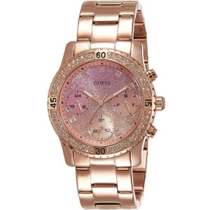 Guess Women's Confetti Rose Gold Plated Stainless-Steel Bracelet Watch W0774L3