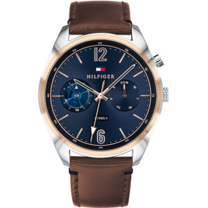 Tommy Hilfiger Men's Deacon Quartz Blue Dial Leather Strap Watch 1791549