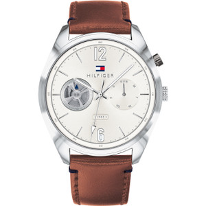 Tommy Hilfiger Men's Deacon Quartz White Dial Brown Leather Strap Watch 1791550