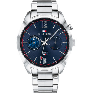 Tommy Hilfiger Men's Deacon Quartz Blue Dial Stainless-Steel Bracelet Watch 1791551