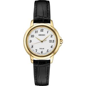 Seiko Women's Essentials Solar White Dial Black Leather Strap Watch SUT376
