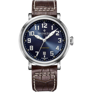 Dreyfuss & Co Men's 1924 Automatic Blue Dial Brown Leather Strap Watch DGS00153/52
