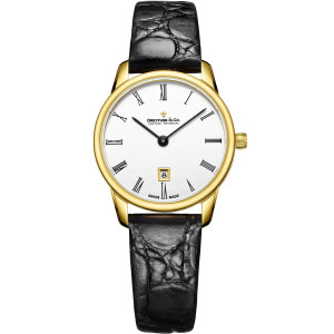 Dreyfuss & Co Women's 1980 White Dial Black Leather Strap Watch DLS00136/01