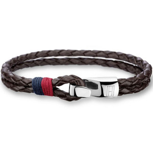 Tommy Hilfiger Men's Braided Brown Leather Stainless-Steel Bracelet 2700671