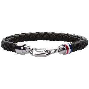 Tommy Hilfiger Men's Braided Black Leather Stainless-Steel Bracelet 2700510