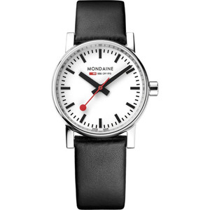 Mondaine Evo2 Women's Quartz White Dial Black Leather Strap Swiss Railways Watch MSE.30110.LB