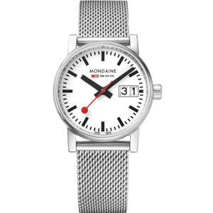 Mondaine Evo2 Women's Quartz Big Date Mesh Bracelet Swiss Railways Watch MSE.30210.SM