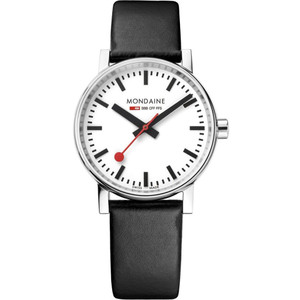 Mondaine Evo2 Women's Quartz White Dial Black Leather Strap Swiss Railways Watch MSE.35110.LB