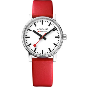 Mondaine Evo2 Women's Quartz White Dial Red Leather Strap Swiss Railways Watch MSE.35110.LC