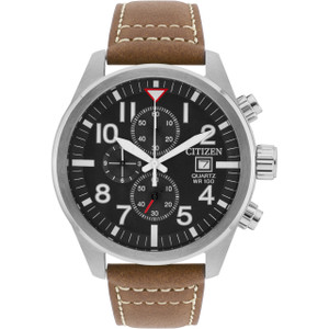Citizen Quartz Men's Chronograph Brown Leather Strap Watch AN3620-01H