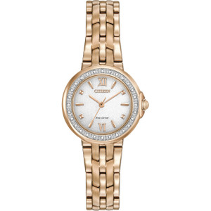 Citizen Eco-Drive Women's 28 Diamonds White Dial Watch EM0443-59A