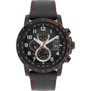 Citizen Eco-Drive Men's Radio Controlled Chronograph Black Dial Leather Strap Watch AT8125-05E