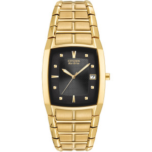 Citizen Eco-Drive Men's Black Dial Gold Bracelet Watch BM6552-52E