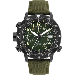 Citizen Eco-Drive Promaster Altichron Men's Green Dial Nylon Strap Watch BN4045-12X
