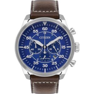 Citizen Eco-Drive Men's Chronograph Blue Dial Brown Leather Strap Watch CA4210-41L