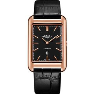 Rotary Men's Cambridge Quartz Sapphire Black Dial Leather Strap Watch GS05284/04