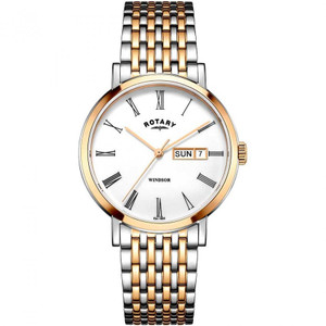 Rotary Men's Windsor Sapphire White Dial Two-Tone Bracelet Watch GB05302/01